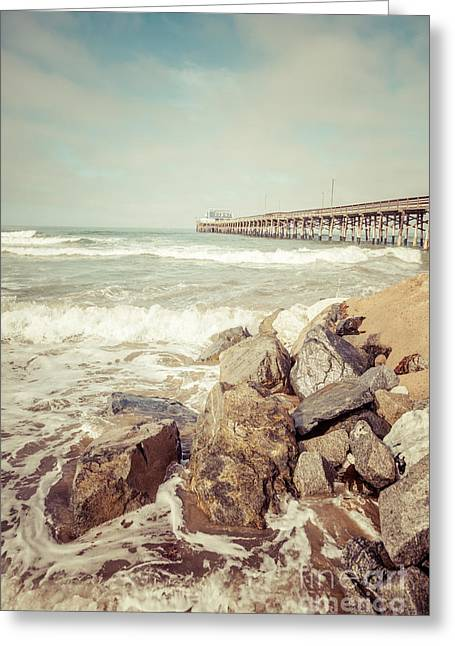 Sea Shore Greeting Cards - Newport Pier Rocks Retro Photo Greeting Card by Paul Velgos