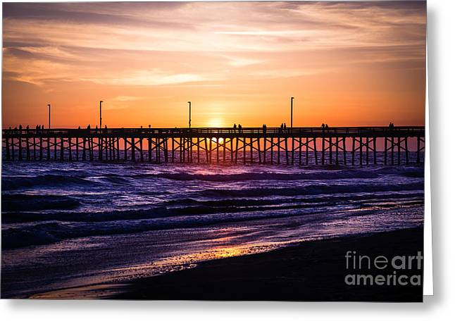 Southern California Sunset Beach Greeting Cards - Newport Pier Sunset in Newport Beach California Greeting Card by Paul Velgos