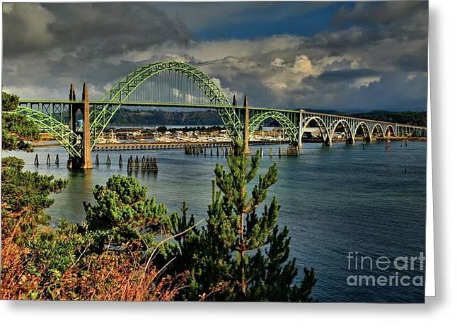 Yaquina Bay Bridge Greeting Cards - Newport Yaquina Bridge Greeting Card by Adam Jewell
