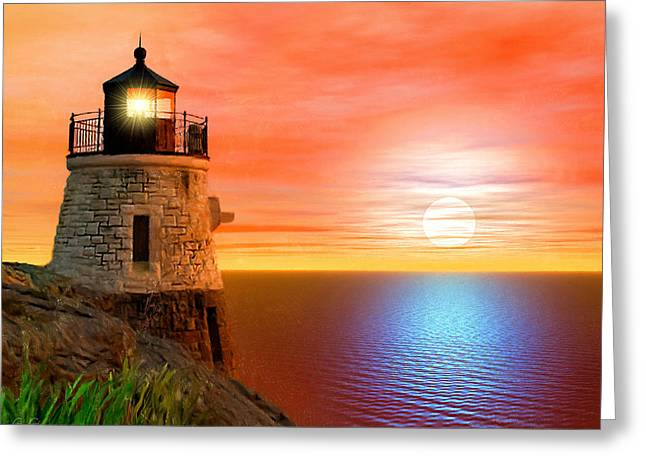 New England Lighthouse Photographs Greeting Cards - Newports Gem Greeting Card by Lourry Legarde