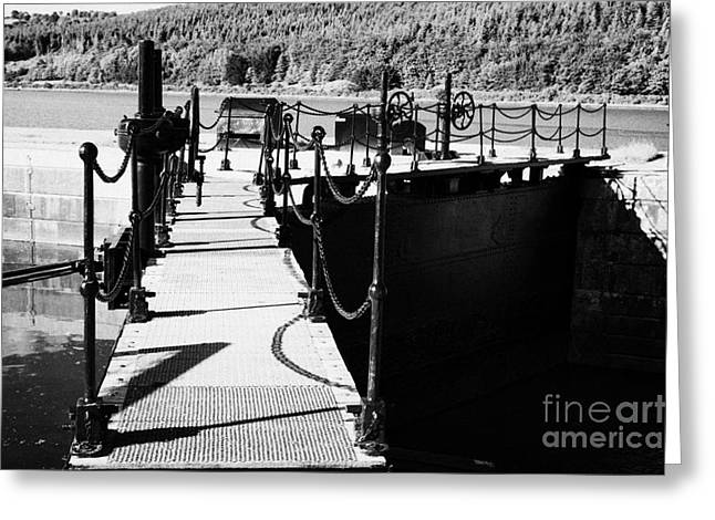 Mechanism Photographs Greeting Cards - Newry Ship Canal Lock Gates And Controls At The Newly Refurbished Victoria Lock At Carlingford Lough Greeting Card by Joe Fox