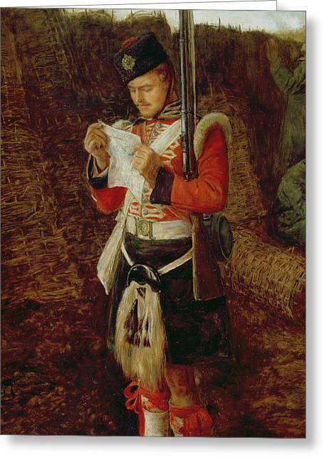 Trenches Paintings Greeting Cards - News from Home Greeting Card by Sir John Everett Millais