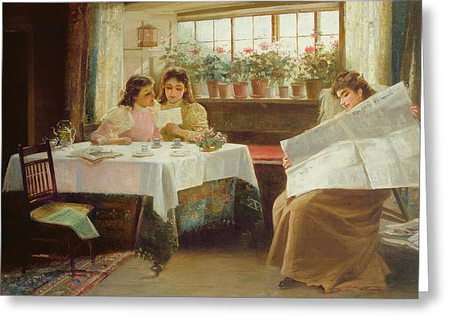 Family Time Greeting Cards - News from the Front Greeting Card by Alexander M Rossi