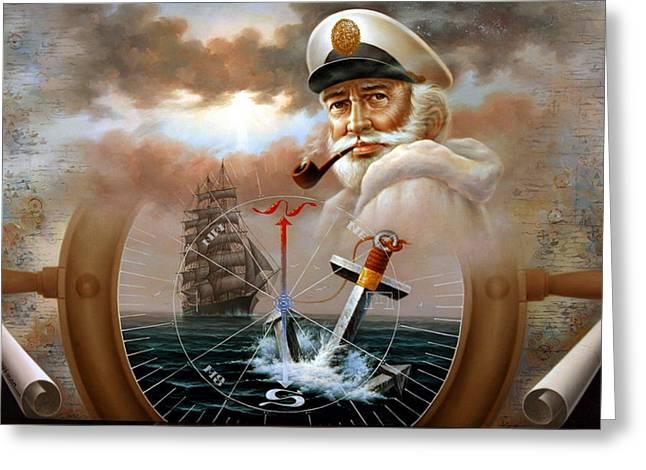 Sailing Ship Greeting Cards - NEWS  Map Captain 2 or Sea Captain Greeting Card by Yoo Choong Yeul