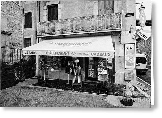 Cadeau Greeting Cards - Newsagent And Gift Shop In Mont-louis Pyrenees-orientales France Greeting Card by Joe Fox