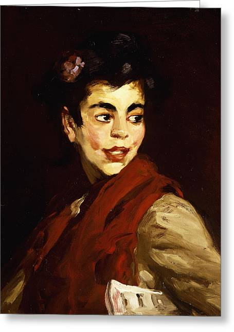 Black Scarf Greeting Cards - Newsgirl in Madrid Greeting Card by Robert Henri