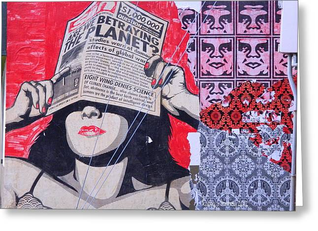 Shepard Fairey Greeting Cards - Newspaper Woman and Andre the Giant And His Possee Wall Mural Graffiti Greeting Card by Kathy Barney