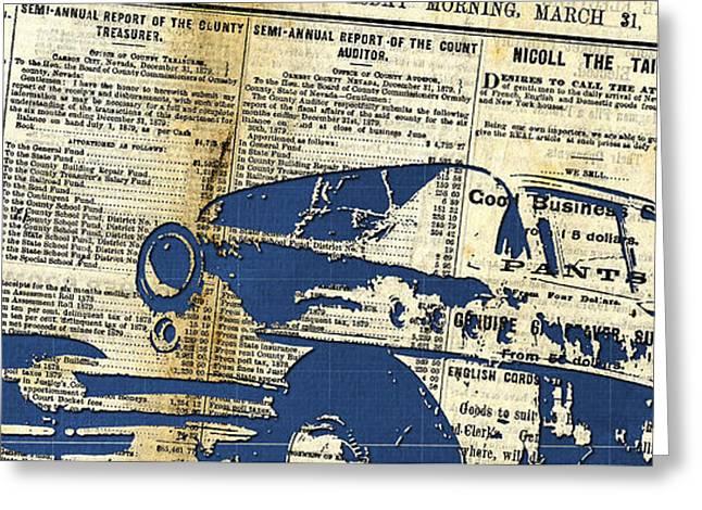 Landscape Newspaper Old Crashed Car Collage Greeting Card by Pablo Franchi