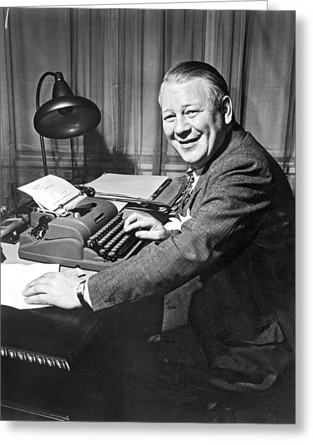 Newspaper Reporter At Work Greeting Card by Underwood Archives