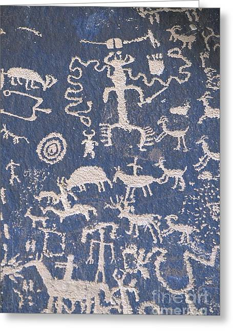 American Grafitti Greeting Cards - Newspaper Rock Greeting Card by Chris Selby