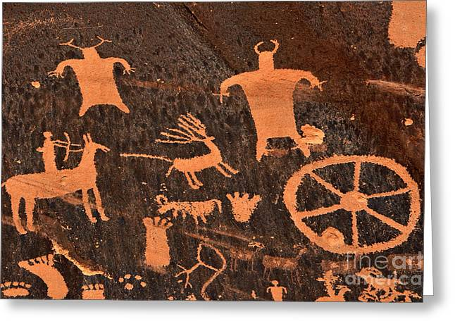 Petroglyph Greeting Cards - Newspaper Rock Close-up Greeting Card by Gary Whitton
