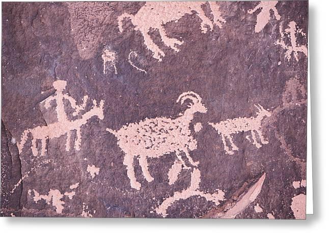 Newspaper Rock Sandstone Greeting Cards - Newspaper Rock Southeast Utah Greeting Card by Robert Ingelhart