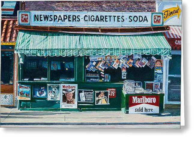 Everyday Man Greeting Cards - Newspaper Stand West Village NYC Greeting Card by Anthony Butera