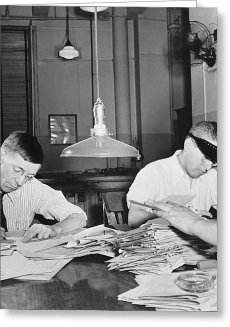 Reading Of Image Greeting Cards - Newsroom Copy Readers Greeting Card by Marjory Collins