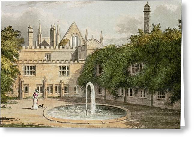 Cloister Greeting Cards - Newstead Abbey, From R. Ackermanns Greeting Card by English School