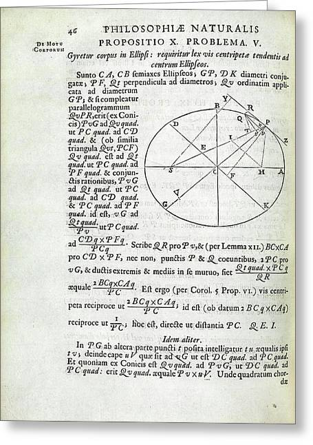 Newton On Elliptical Motion Greeting Card by Royal Institution Of Great Britain