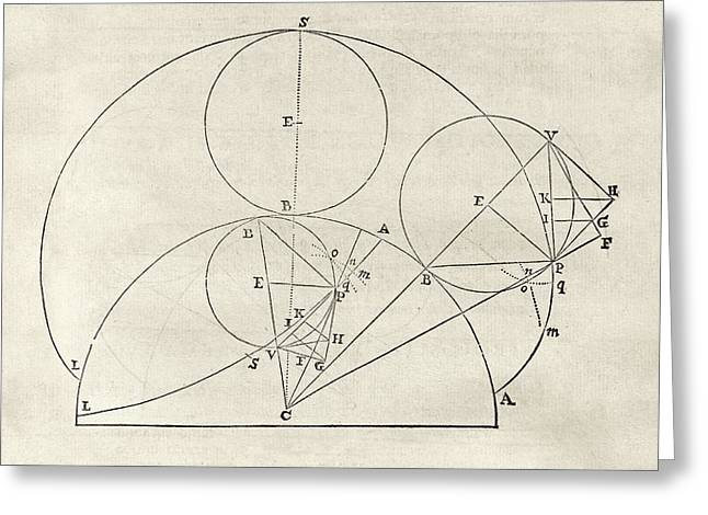 Newton On Geometric Curves Greeting Card by Middle Temple Library