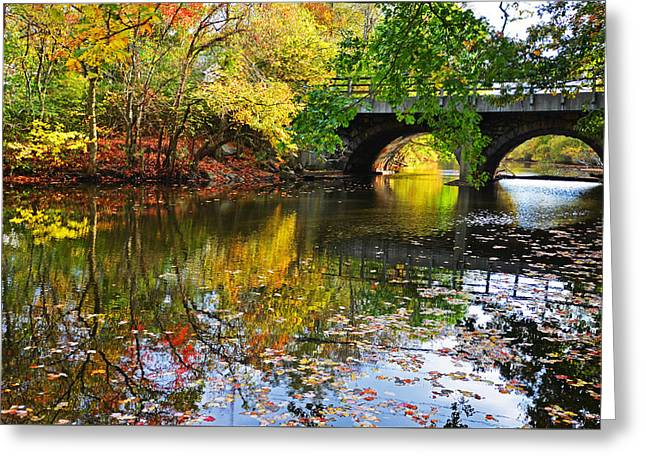 Oxford. Oxford Ma. Massachusetts Greeting Cards - Newton Upper Falls Autumn Foliage Greeting Card by Toby McGuire