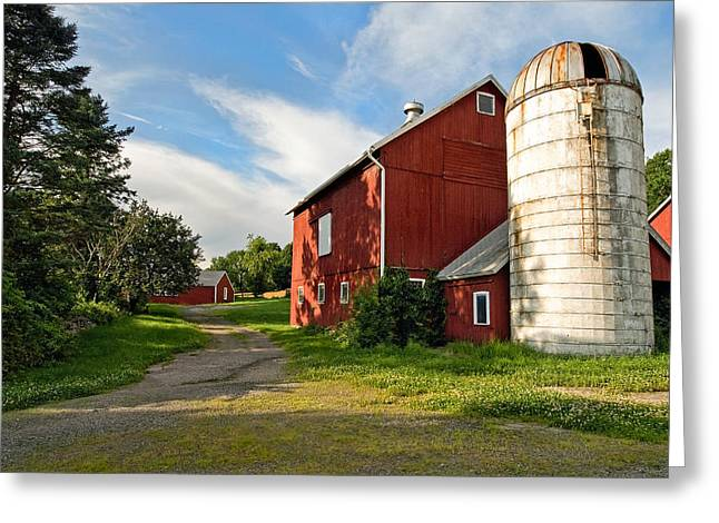 Red Barn Greeting Cards - Newtown Barn Greeting Card by Bill  Wakeley