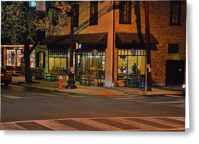 Night Scenes Greeting Cards - Newtown Nighthawks Greeting Card by William Jobes