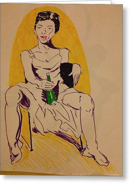 Pinup Pastels Greeting Cards - Next Morning Greeting Card by Reid Silvern