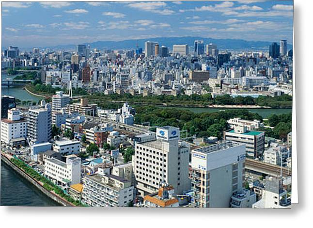 Osaka Greeting Cards - Neya River Osaka Japan Greeting Card by Panoramic Images