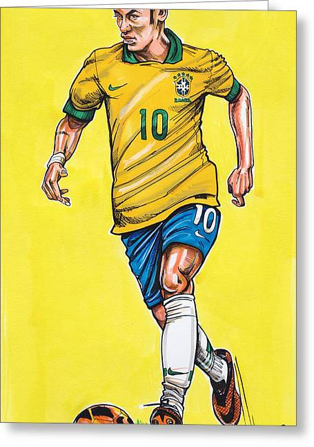 Barcelona Drawings Greeting Cards - Neymar Greeting Card by Dave Olsen