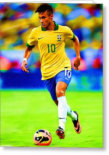 Recently Sold -  - Nike Greeting Cards - Neymar Soccer Football Art Portrait Painting Greeting Card by Andres Ramos