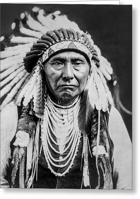Curtis Greeting Cards - Nez Perce Indian man circa 1903 Greeting Card by Aged Pixel