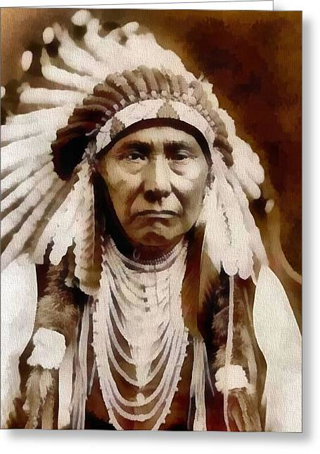 Native American Ancestry Greeting Cards - Nez Perce Native American Chief Greeting Card by Dan Sproul