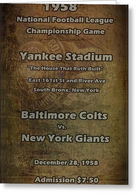 Baseball Fields Digital Art Greeting Cards - NFL Championship Game 1958 Greeting Card by David Dehner