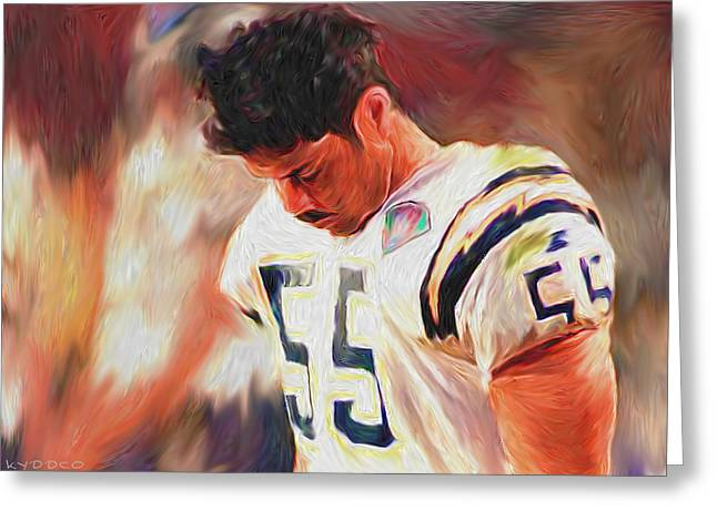 Seau Greeting Cards - NFL - Junior Seau Greeting Card by Tyler Watts - KyddCo