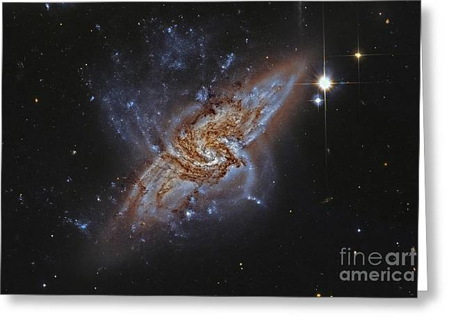 Merging Greeting Cards - Ngc 3314, A Pair Of Overlapping Spiral Greeting Card by Roberto Colombari
