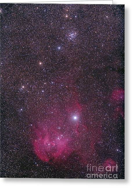 Interstellar Space Greeting Cards - Ngc 3766 And The Lambda Cen Nebula Greeting Card by Alan Dyer