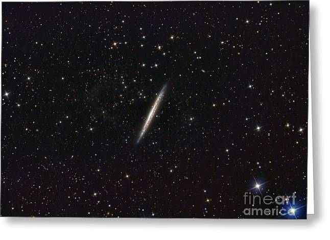 Constellations Greeting Cards - Ngc 5907 Spiral Galaxy Greeting Card by Reinhold Wittich