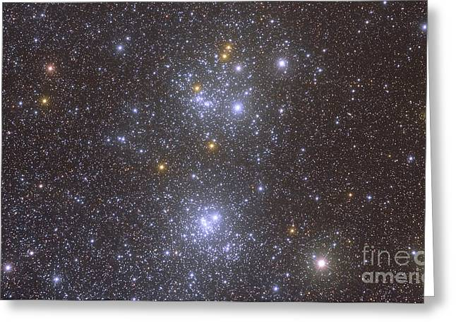 Double Cluster Greeting Cards - Ngc 884 And Ngc 869, The Double Cluster Greeting Card by Roberto Colombari