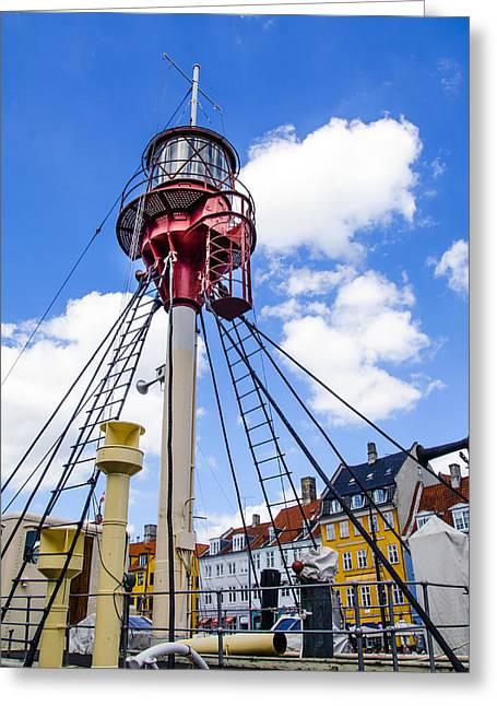 Wooden Ship Greeting Cards - Lightship XVII - Nhavn - Copenhagen Denmark Greeting Card by Jon Berghoff