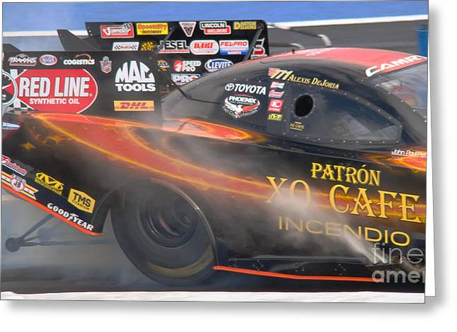 Quarter Horse Mixed Media Greeting Cards - NHRA Female Driver Greeting Card by Beverly Guilliams