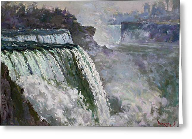 Niagara Falls Greeting Cards - Niagara American Falls 2 Greeting Card by Ylli Haruni