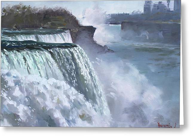 Misty Greeting Cards - Niagara American Falls Greeting Card by Ylli Haruni
