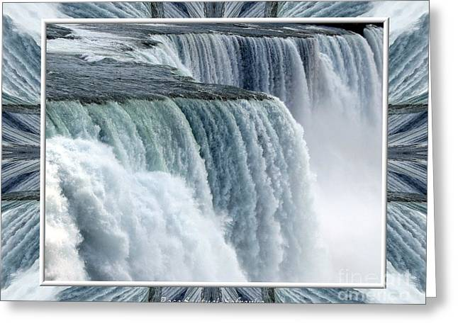 Santuci Greeting Cards - Niagara Falls American side closeup with warp frame Greeting Card by Rose Santuci-Sofranko