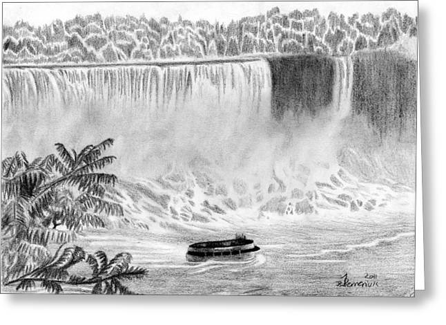 Fall Trees Drawings Greeting Cards - Niagara Falls and the Maid of the Mist Greeting Card by Kayleigh Semeniuk