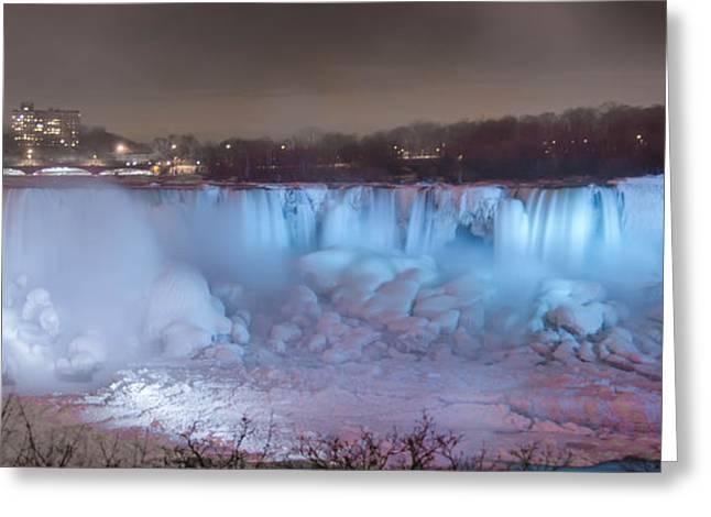 Long Exposure Waterflow Greeting Cards - Niagara Falls at Night  7D08976 Greeting Card by Guy Whiteley