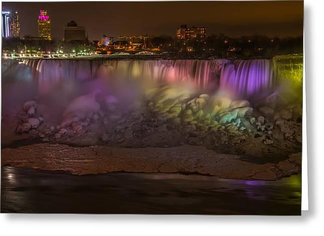 Niagara Falls Greeting Cards - Niagara Falls at Night Greeting Card by Ian Stotesbury