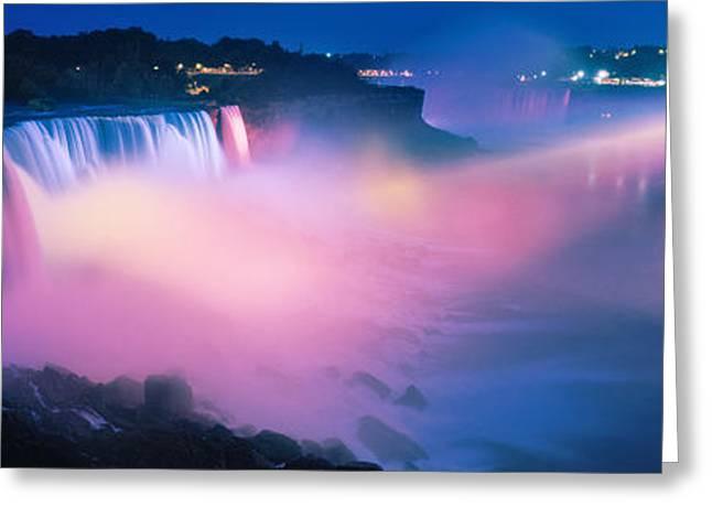 Niagara River Greeting Cards - Niagara Falls At Night, Niagara River Greeting Card by Panoramic Images