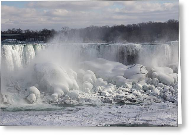 Niagara Falls Awesome Ice Buildup - American Falls New York State Usa Greeting Card by Georgia Mizuleva