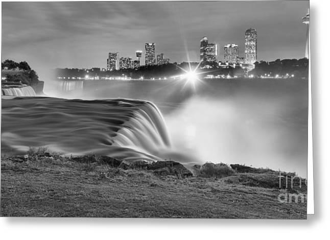 Niagara Falls Black And White Starbursts Greeting Card by Adam Jewell