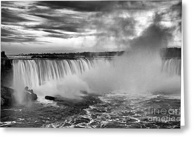 Horseshoe Falls Greeting Cards - Niagara Falls Black White Greeting Card by Charline Xia