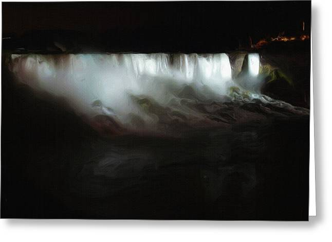 Black Veil Greeting Cards - Niagara Falls by Night Greeting Card by Ayse Deniz