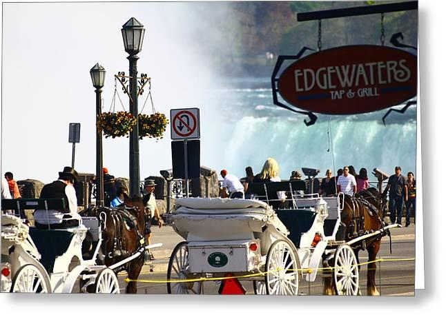 Niagara Carriage Greeting Cards - Niagara Falls Carriage Ride Greeting Card by Rexford L Powell